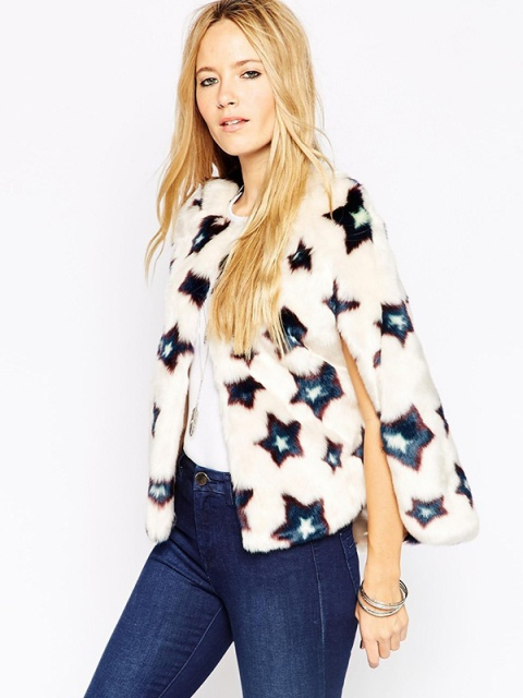 Women's Stars Printed Sleeveless Open Stitch Casual Loose Faux Fur ...