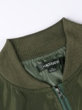 Army Green Zipper Pocket Side Bomber Jacket