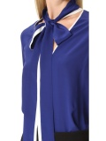 Blue Block Bow Tie Neck Contracted Shirt