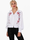Brief Floral Embroidery Puff Sleeve Shirts