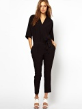 Fashion v-neck 7 minutes of sleeve cross chalaza waist jumpsuits