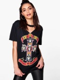 GUN and ROSES printed hollow V-neck casual T-shirt