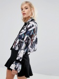 Lost Ink Cropped Shirt In Floral Print With Velvet Bow Detail