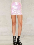 Pink Sequin Mini Skirts