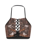 Pink Sequin Spaghetti Strap Lace-up Cami Top