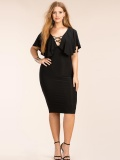 Plus Black Laced-up Neck Ruffled Top Bodycon Dress