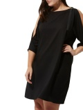 Plus Black Slit Sleeve Belt Dress