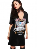 Sexy hollow letter printing T-shirt dress