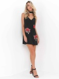 Sexy simple solid color flowers embroidered halter dress