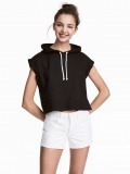 Simple wild college style sports version of the hooded short top