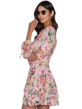 Tropic Floral Print Lantern Sleeve Lace-up Dress
