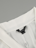 White Bowtie V--neck Short Sleeve Shirts