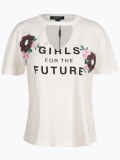 White Floral Sequin Hollowout T-shirt