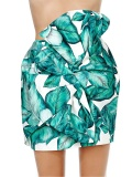 White/Green Exaggerated Knot Front Mini Skirt