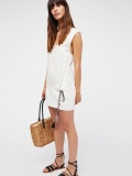 White Lace-up Brief Sleeveless Dress
