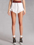White Ruffle Hot Shorts