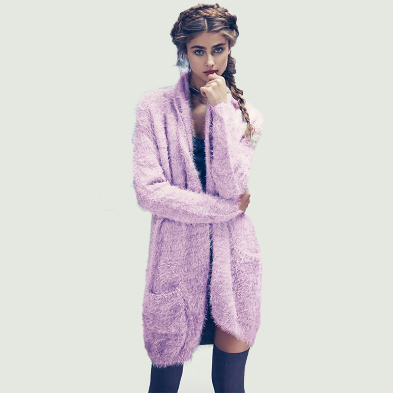 Women's Purple Mohair Longline Pocket Cardigan clothes | IRISIE.COM