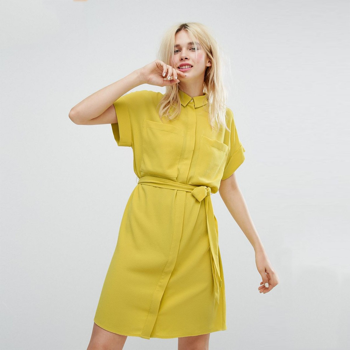Shirt dress cheap yellow